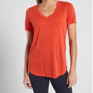 Athleta Orange Breezy Scoop V-Neck Shirt
